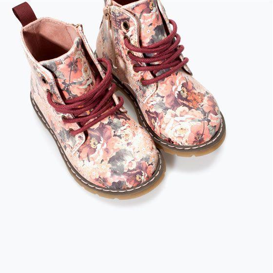 ZARA - KIDS - FLOWER-PRINT LACE-UP BOOTS   Zara Kids ...