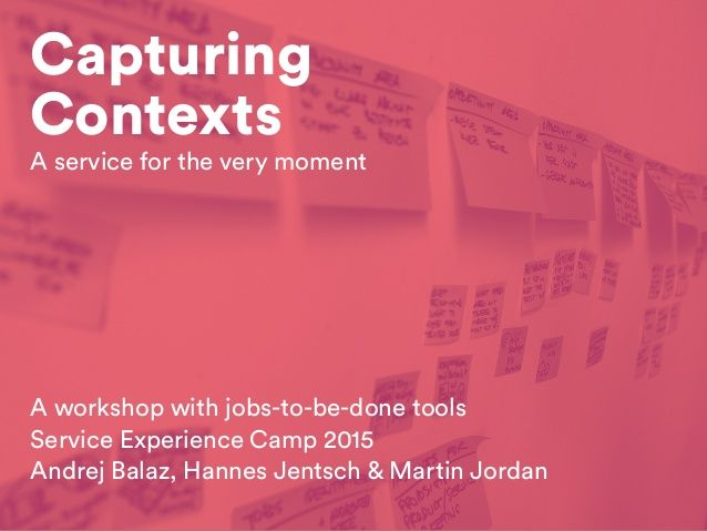 Capturing Contexts: A workshop with jobs-to-be-done tools / Service E…