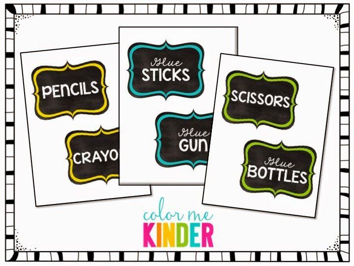Color Me Kinder: FREE Chalkboard Themed Supply Bin Labels