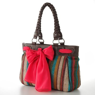 Apt. 9® Julie Straw Striped Scarf Tote- I have this in black and ivory with a leaopard print scarf.  It is the perfect size for all I carry.
