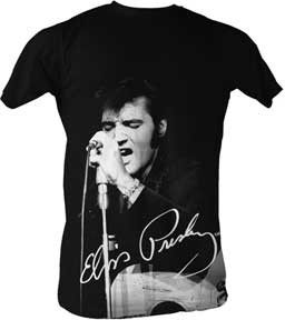Elvis Presley Signature Men's Lightweight T-Shirt - The next best thing to meeting The King is rocking this Elvis Presley signature men's lightweight T-Shirt with a vintage black and white photo of Elvis Presley himself.