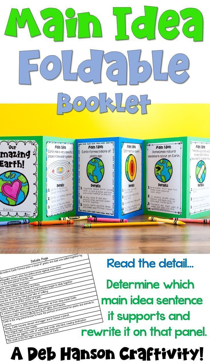 Practice identifying the supporting details that accompany MAIN IDEA statements by creating this foldable book, all while learning about the Earth! This activity is perfect for Earth Day, but it can easily be done at any time throughout the year! Students read a detail statement, and then determine which of the 6 pages it belongs on.