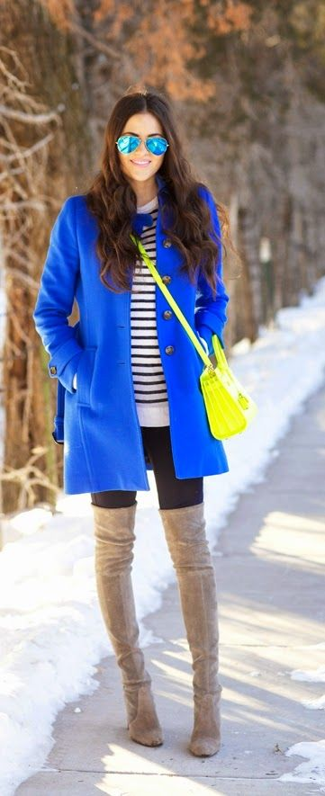 Winter Fashion 2015. Don't be afraid to be bold during winter.  Cobalt  Blue Coat + Stripes + Grey Knee High Boots ::M::