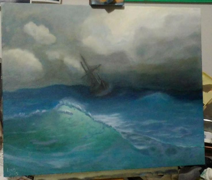 Aivazovsky Study #4, Oil on panel
