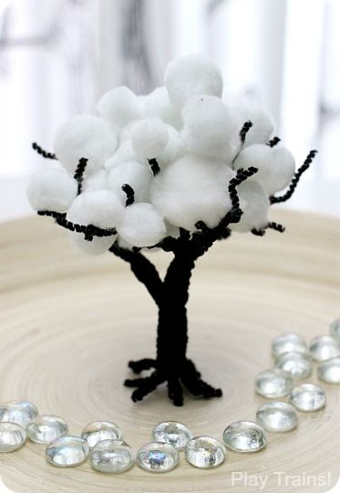 Fine Motor Winter Pom Pom Trees for Train Sets and Other Small Worlds from Play Trains!