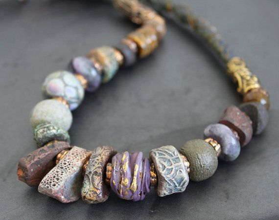 Artisan lampwork and ceramic beads necklace with silk / Green and violet tones (also has flourite and agate)