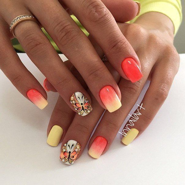 Beautiful nails 2016, Butterfly nail art, Juicy nails, Nails ideas 2016, Nails with beads, Nails with stones, Ombre nails, ring finger nails