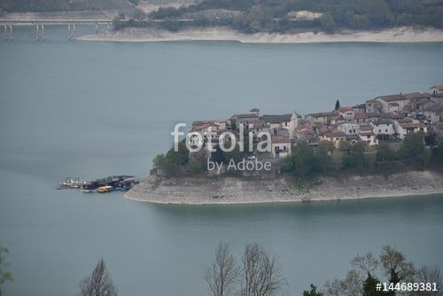"""Download the royalty-free photo """"View over the village Colle di Tora, Turano lake, Lazio region, Italy"""" created by Ciaobucarest at the lowest price on Fotolia.com. Browse our cheap image bank online to find the perfect stock photo for your marketing projects!"""