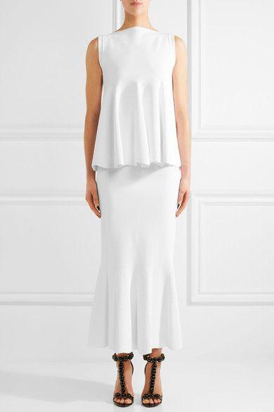 Alaïa - Fluted Stretch-piqué Maxi Skirt - White - FR42