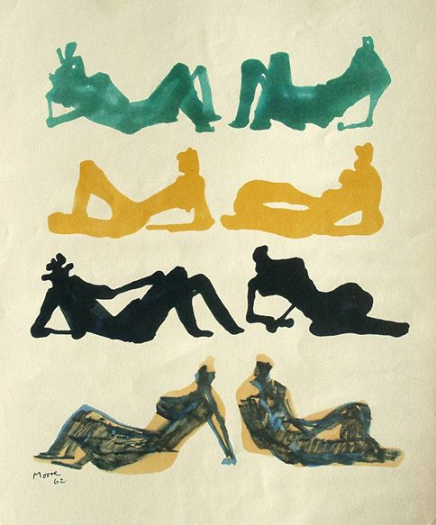 Henry Moore: Henry Moore Print: Eight Reclining Figures (1962)