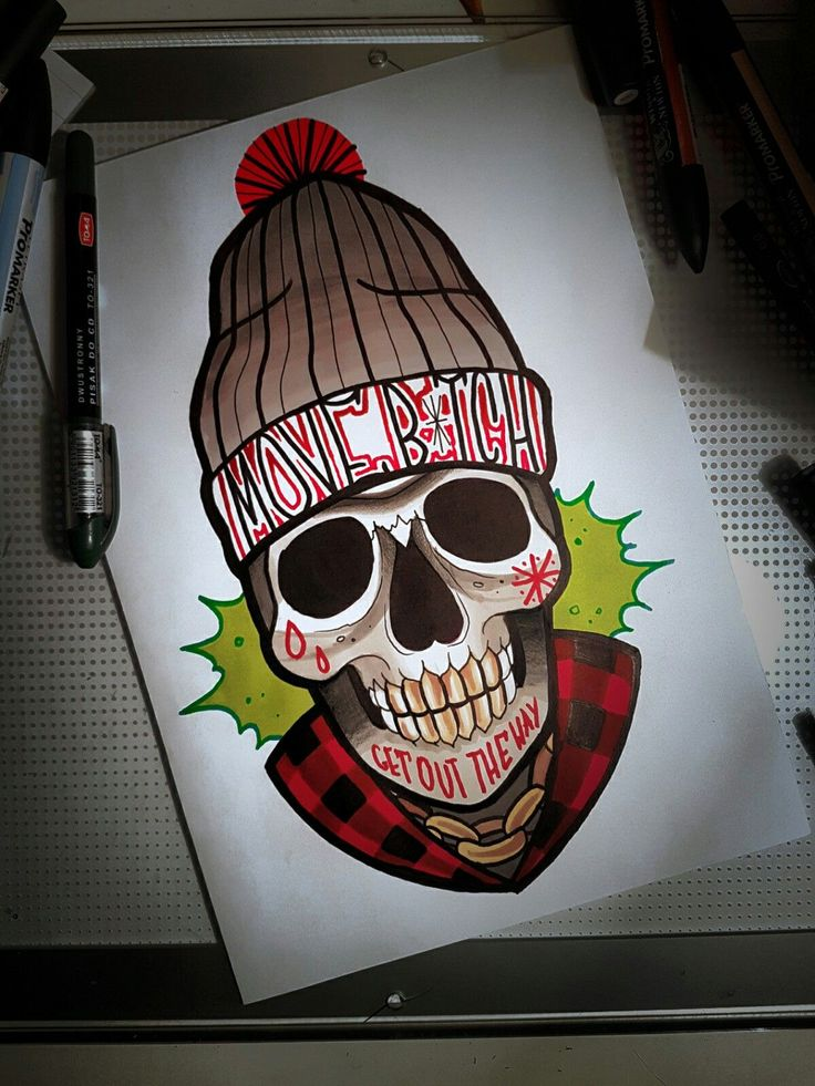 #neo #traditional #tattoo #design #bad #skull