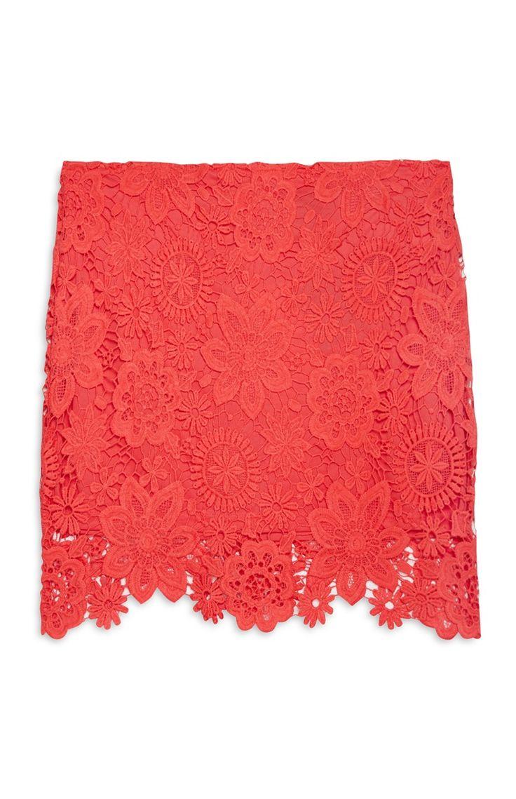Primark - Red Lace Mini Skirt