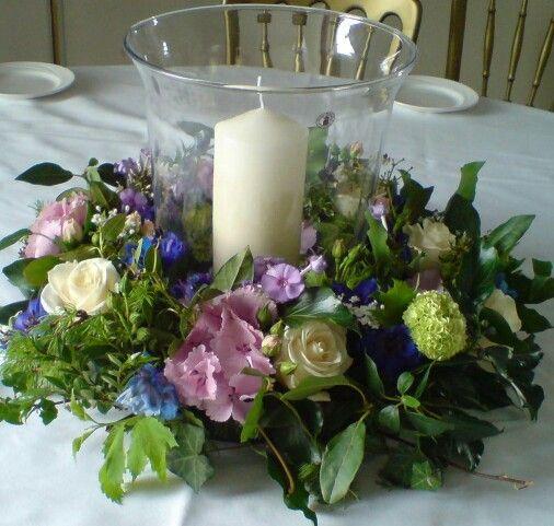 Table centre piece roses, hydrangea, phlox, viburnum, delphinium