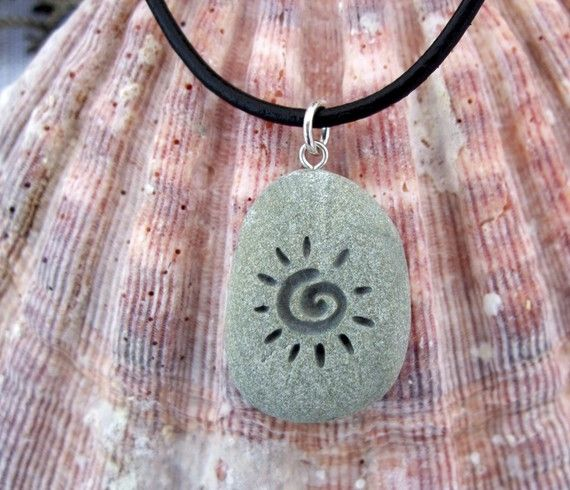 The Primitive Sun  deeply Engraved upcycled Beach by castastone, $24.99