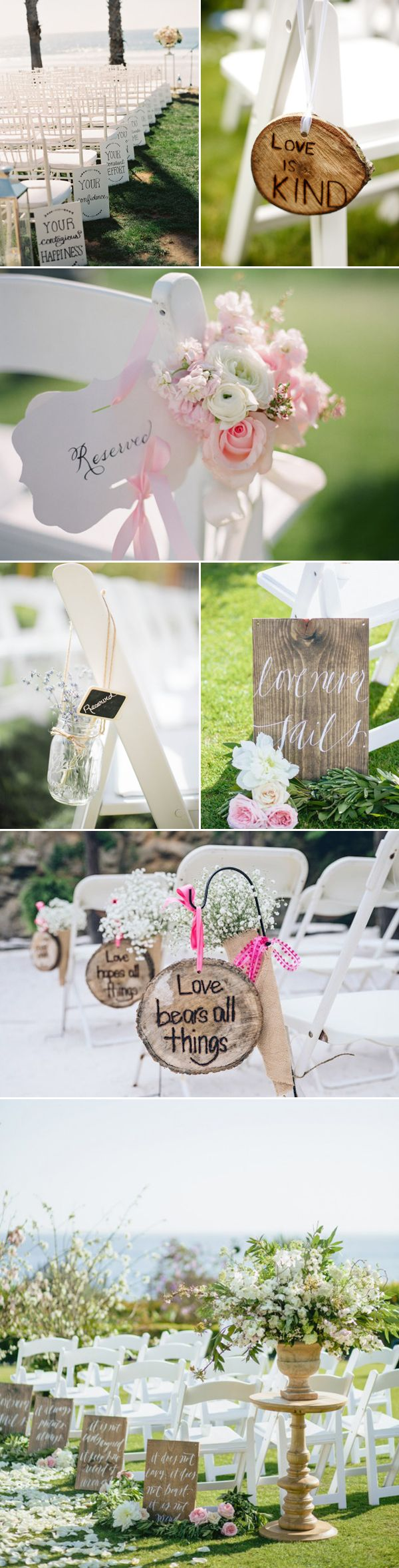 Message wedding aisle decor ideas / http://www.deerpearlflowers.com/35-chic-wedding-ceremony-aisle-markers/