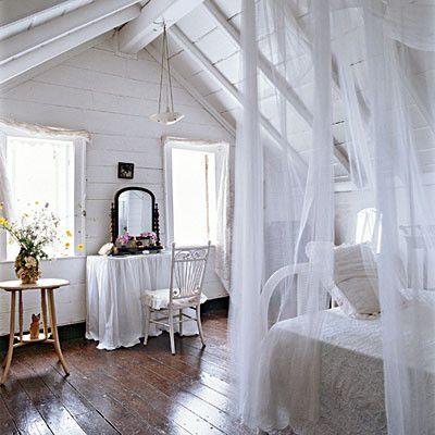 coastal attic bedroom