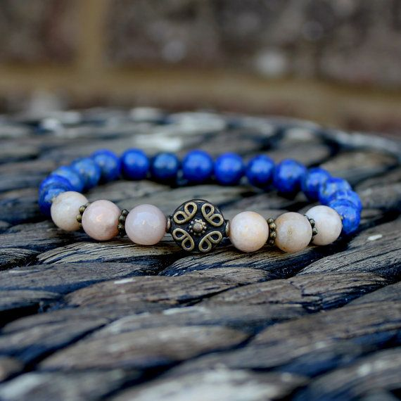 Lapis Lazuli Sunstone Artisan Yoga Mala Bracelet by DazzleDream