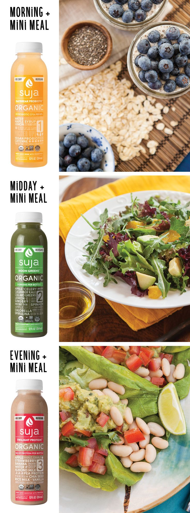 Get back on track with the Suja Organic 1-Day Renewal! The program pairs 3 delicious drinks with a whole food meal plan that's easy to follow. Start the day with Daybreak Probiotic, a spicy and sweet lemonade boosted with vegan probiotics. For lunch enjoy Noon Greens, a nutrient-dense green juice with a refreshing finish. End the day with Twilight Protein, a filling strawberry almond milk powered with vegan pea protein. Available nationwide - find a store near you!