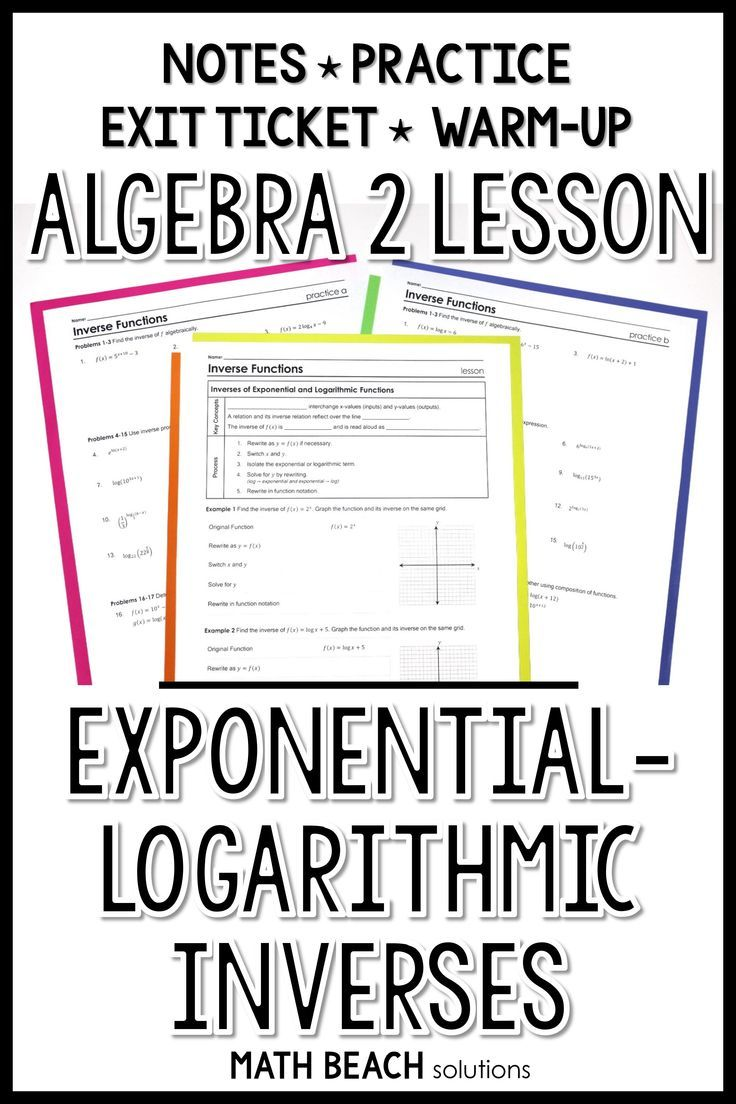 Exponential Logarithmic Inverses Lesson Algebra Lesson Plans Algebra Lessons Exponential