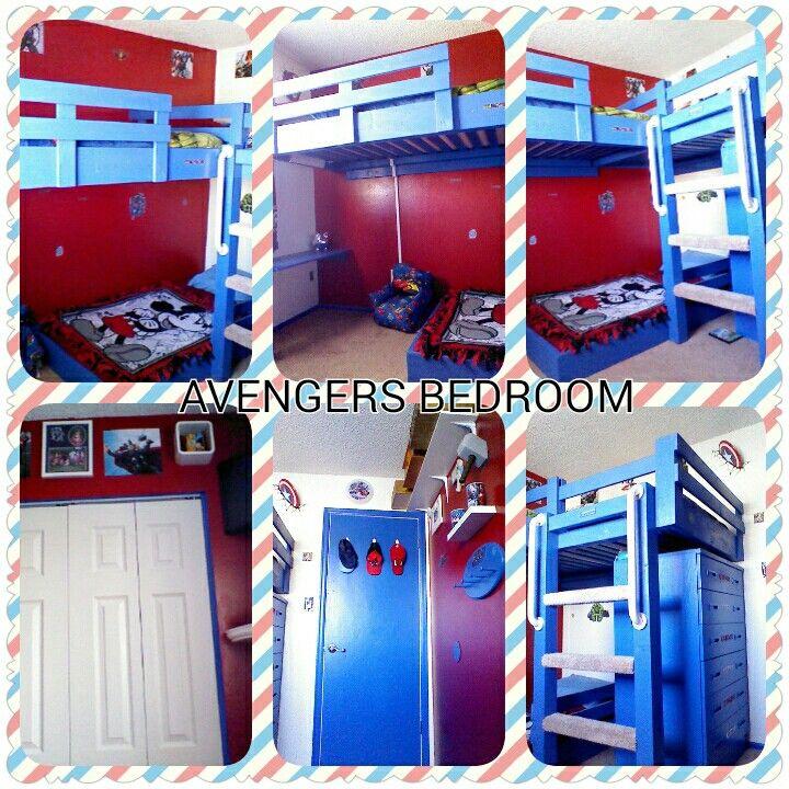 Avengers bedroom with triple bunkbeds