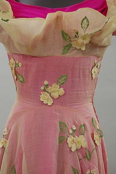 Schiaparelli Ball Gown - detail - SS 1953 - by Elsa Schiaparelli - White organza and shocking pink slubbed silk.