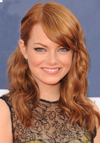 Emma Stone, light red, hair color. Want to do seething similar but I think a little more strawberry and a little darker