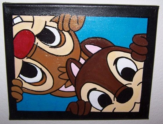 Chip 'N Dale - Disney painting - acrylic paint on canvas - chipmunk - Rescue Rangers