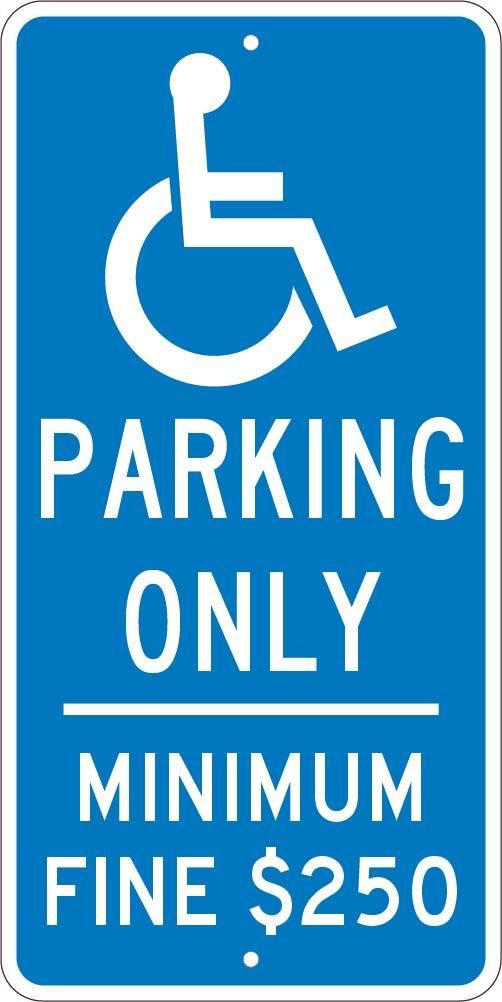 """California Reserved Parking Handicap (With HDCP Symbol)   24""""x12""""   .080 Reflective Aluminum   Each"""