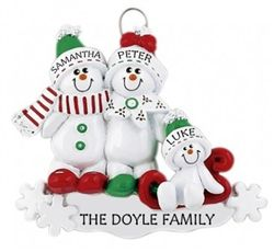 Personalised Christmas Ornament - Family of 3, Snowman Sled. Mammy, Daddy and baby makes 3. Get your names on these cute snowmen for Christmas 2016. WowWee.ie | €13.49