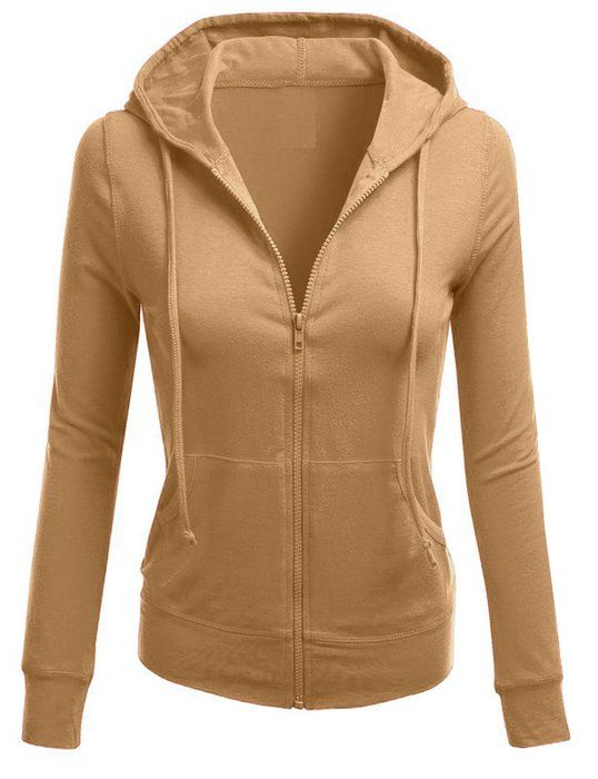 TL Women's Solid Warm Thin Thermal Knitted Casual Zip-Up Hoodie Jacket (MEDIUM, COTTON_CAMEL)