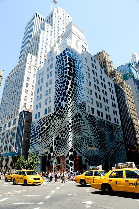 Louis Vuitton building covered in polka-dots. (Yayoi Kusama collaboration)