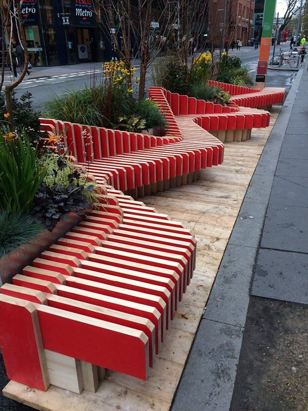 Parklet Design - for us, smaller/more rounded benches. Would make sidewalk a little narrower but pleasant.