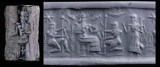Akkadian cylinder seal green sepentine, 2334-2154 B.C. With the water god Enki/Ea seated on angular stool, wearing a horned tiara and a long flounced robe, the god supported by two kneeling attendants, each a Lahmu hairy hero, with much hair around their faces, wearing triple stranded belts,line inscription in Sumerian cuneiform naming the owner, Gissu, scribe, 4 cm long. Private collection