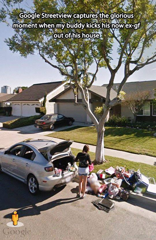 Google Streetview captures the glorious moment when my buddy kicks his now ex-gf out of his house.