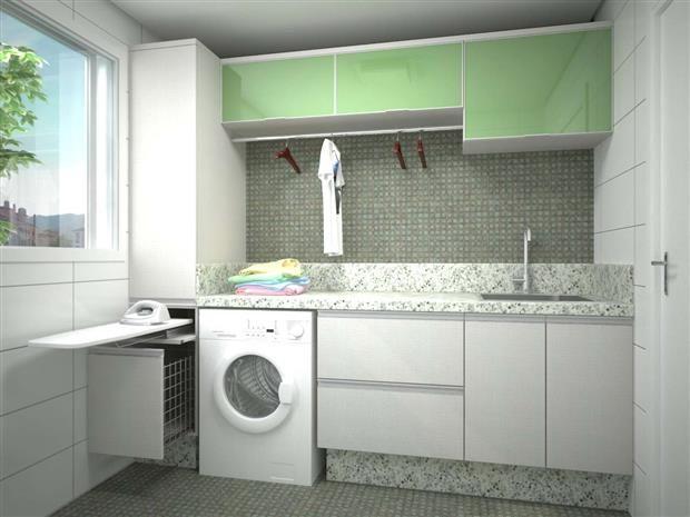 BENATTO: LAVANDERIA SAVONA > MDF Linho, módulo superior em vidro pintado, granito Branco Ceará, tábua de passar roupa embutida