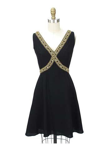 Black and Gold 60s Mini-Dress / Cocktail Dress