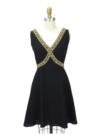 Black and Gold 60s Mini-Dress / Cocktail Dress