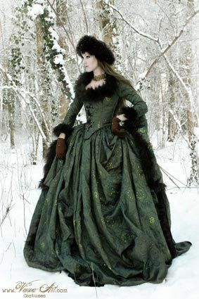 Russian court gown in moss green