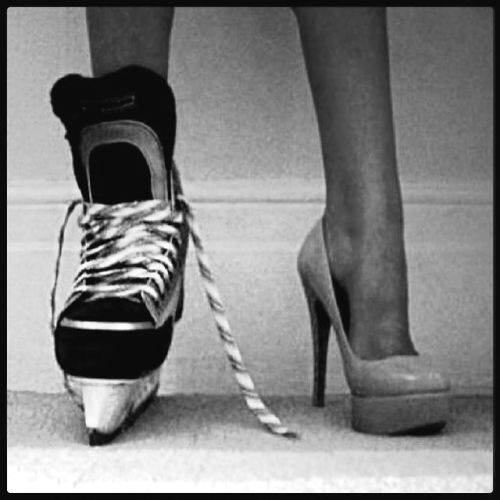 Skates and Heels.  My life story.  Coming home from work and changing from my business and heel attire to my Bruins gear! <3
