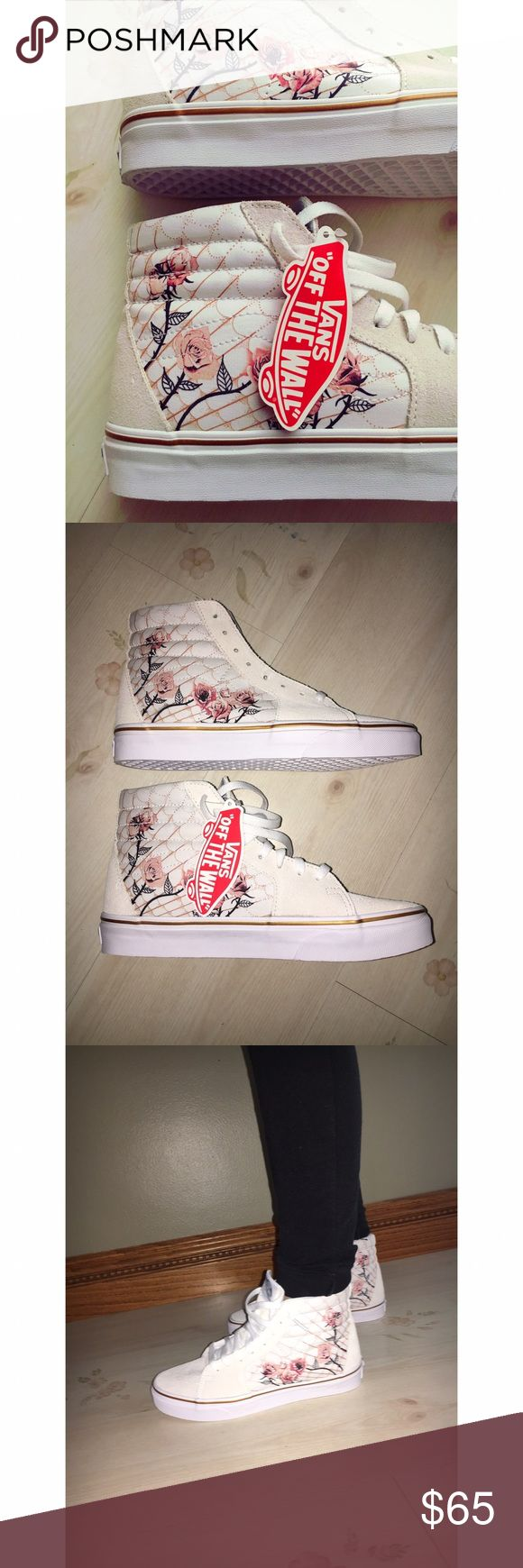 NWT Vans high tops with rose print These are so adorable, but unfortunately too large. Brand new, never worn. Size is women's 8, men's 6.5 but they definitely run a little big. Off white suede with canvas on the side where the floral print is. Thank you for looking! Vans Shoes Sneakers