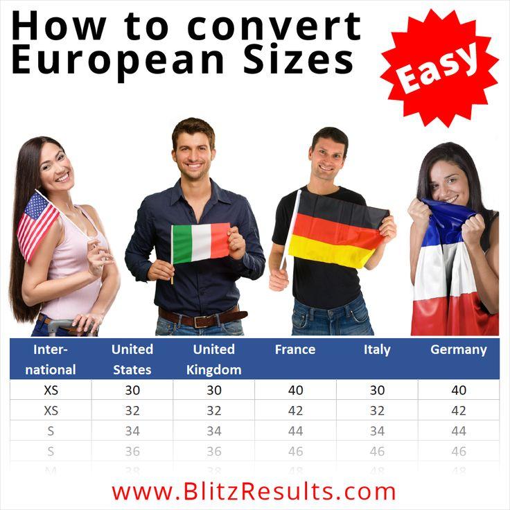 European sizes conversion us eu uk clothes shoes