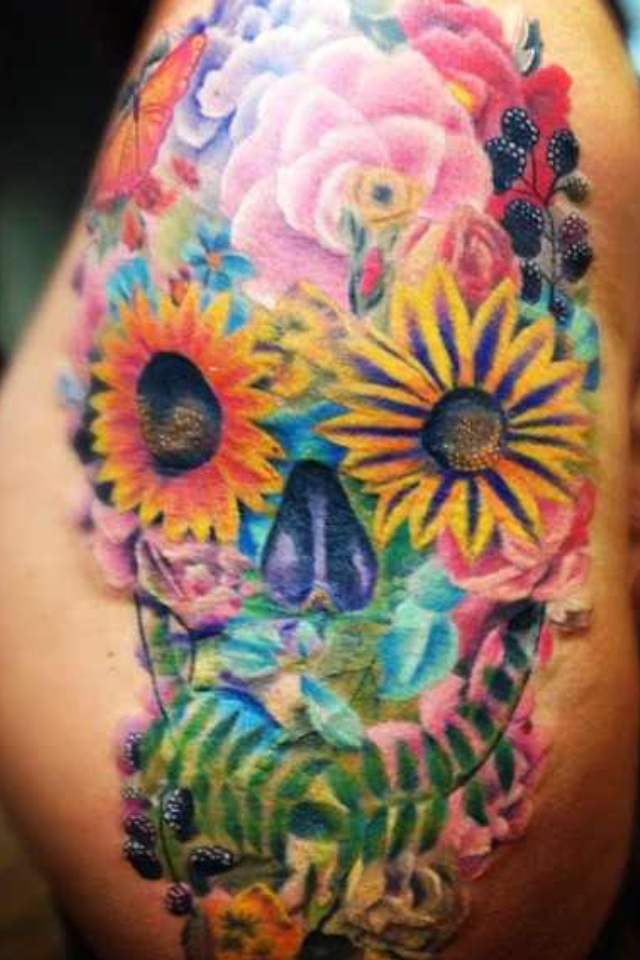 228 best images about tattoos on pinterest animal for Skull and flowers tattoos