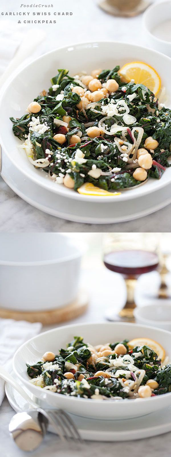 Garlicky Swiss Chard and Chickpeas | http://foodiecrush.com