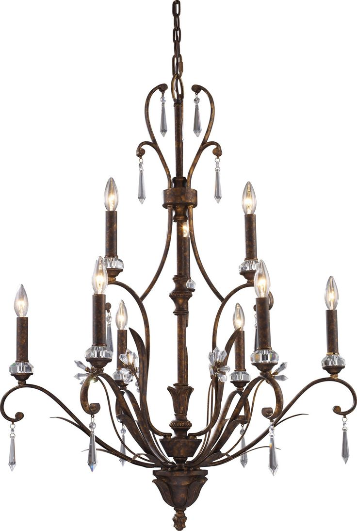 chandelier with prismcut accents and a burnt bronze finish product material metalcolor burnt prismcut crystal