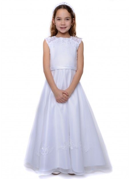 White satin, organza and ribbon lace dress by Emmerling 70148