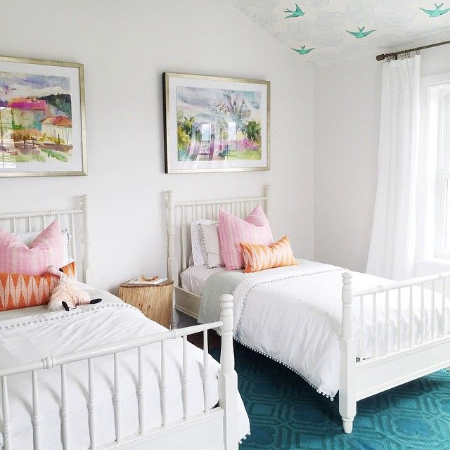 391 best images about cute twin bedrooms on pinterest for Twin girls bedroom ideas