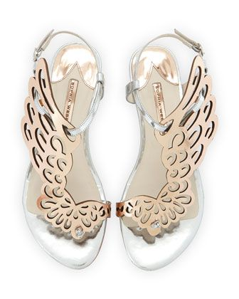 Seraphina+Angel-Wing+Sandal,+Rose+Gold/Silver+by+Sophia+Webster+at+Neiman+Marcus.