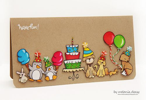 Lawnscaping Challenge #25 - #Birthday - There's a critter party going on! Melania's party card is super duper cute!