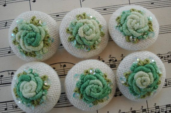 6 Ombre Shabby Green Handmade Embroidered MOP Buttons Vintage Doll Dress Purse Collage Sewing Dress Trim Handbag Purse