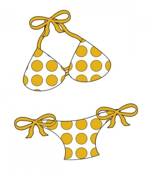 Yellow Polka Dot Bikini Clipart